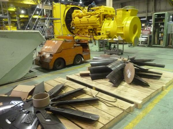 Engine Fan blades waiting to be assembled to engine.