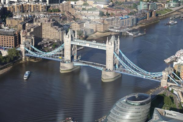 Aerial top shot of Tower Bridge