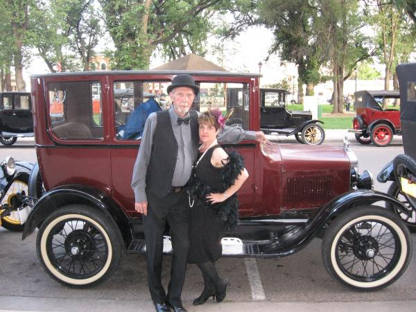 Dean Van Doren and Linda Riel with a 1926 Model T Fordor