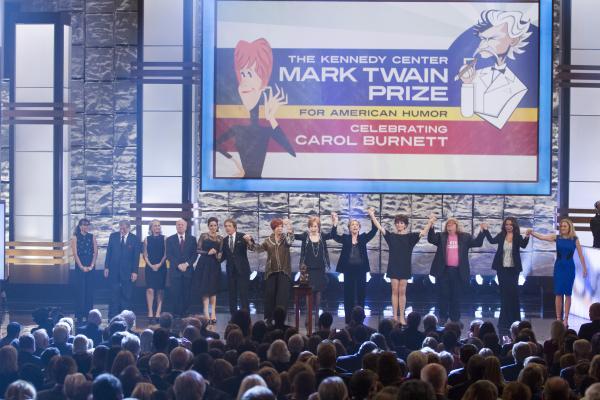 From left to right: Rashida Jones, Tony Bennett, Amy Poehler, Tim Conway, Tina Fey, Martin Short, Vicki Lawrence, Carol Burnett, Julie Andrews, Lucie Arnaz, Bruce Vilanch, Maya Rudolph, Rosemary Watson
