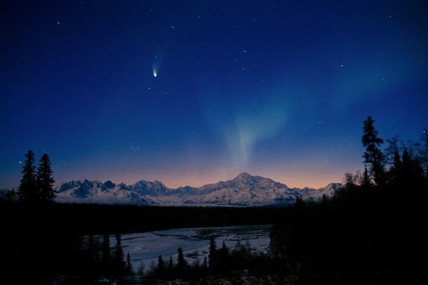 Mt McKinley Sunrise W Comet Northern Lights Interior AK Denali NP Early Spring.