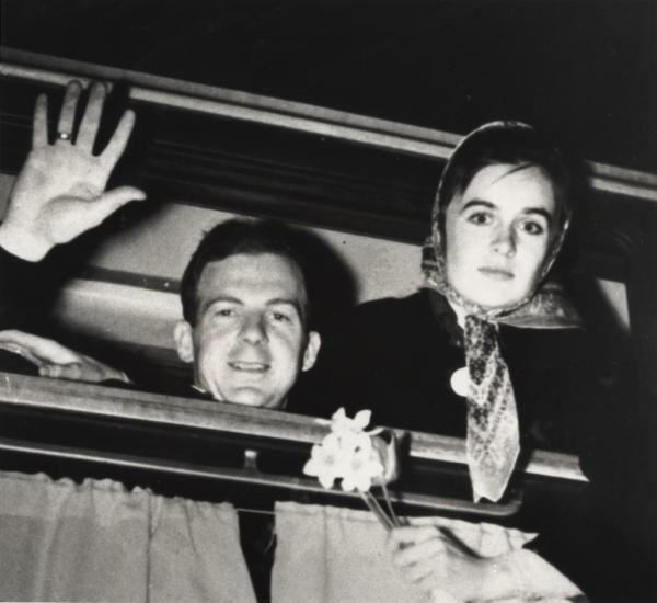 Lee Harvey Oswald and his wife Marina leaving Russia.