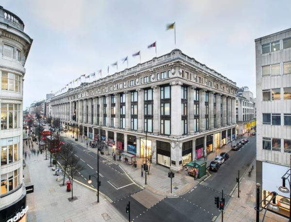Selfridges east corner in London.