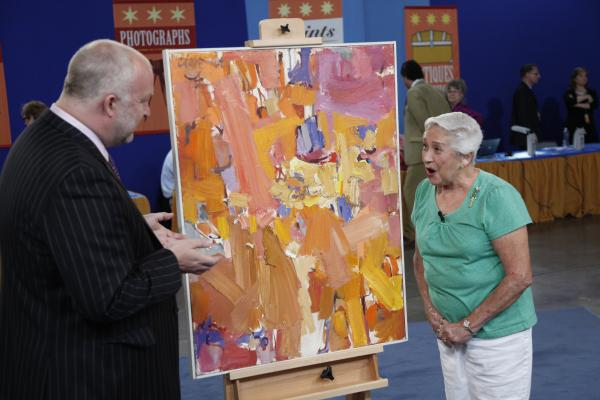 At ANTIQUES ROADSHOW in Phoenix, Arizona, this guest brings an early abstract painting by noted modern artist Chuck Close. Received by the guest's father as repayment of an $8 loan, the painting now boasts an impressive value of $100,000 to $150,000.