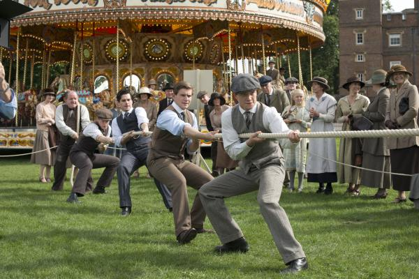 Shown from left to right: John Henshaw as Jos Tufton, Matt Milne as ALfred Nugent, Rob James-Collier as Thomas, Allen Leech as Tom Branson and Ed Speleers as Jimmy Kent