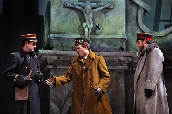 The opera Silent Night recounts a miraculous moment of peace during WWI, when Scottish, French and German officers defied their superiors and negotiated a Christmas Eve truce. Pictured: Liam Bonner, Gabriel Preisser, Craig Irvin.
