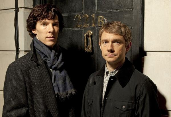 """Sherlock"" – A fast-paced, witty take on the legendary Sherlock Holmes crime novels, now set in present day London and starring Benedict Cumberbatch (""The Last Enemy"") as the Baker Street sleuth and Martin Freeman (""The Office"" UK) as his loyal sidekick Doctor Watson. Shown: Benedict Cumberbatch as Sherlock Holmes and Martin Freeman as Dr. Watson"
