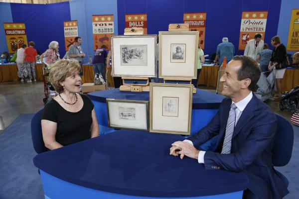 Todd Weyman (right) appraises a collection of Rembrandt and Whistler etchings for $100,000 in Baton Rouge, Louisiana.