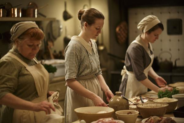 Shown from left to right: Lesley Nicol as Mrs Patmore, Cara Theobold as Ivy and Sophie McShera as Daisy