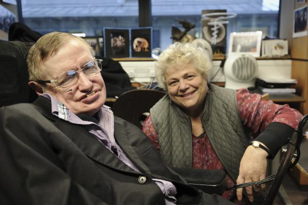 Portrait of Stephen Hawking and his assistant Judith Croasdell in his office at DAMTP, Department of Applied Mathematics and Theoretical Physics, Cambridge.