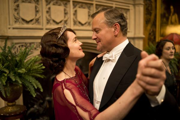 Shown from left to right: Elizabeth McGovern as Lady Cora, Hugh Bonneville as Lord Grantham
