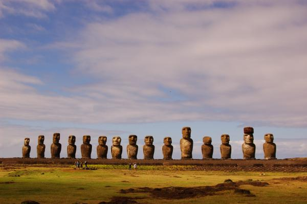 Ahu Tongariki with the cast / crew chilling in front of it.
