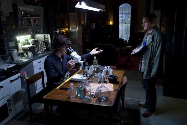 Shown: Benedict Cumberbatch as Sherlock and Martin Freeman as Watson