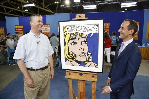 Todd Weyman (right) appraises a 1965 Roy Lichtenstein screenprint for $300,000 in Kansas City, Missouri.