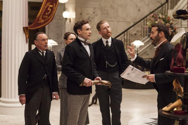 Shown from left to right: Ron Cook as Mr. Crabb, Cal Macaninch as Mr. Thackeray, Tom Goodman-Hill as Mr. Grove and Jeremy Piven as Mr. Selfridge