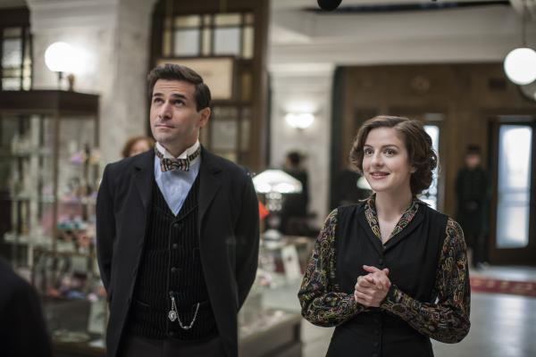 Shown from left to right: Grégory Fitoussi as Henri LeClair and Aisling Loftus as Agnes Towler