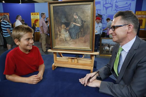 David Weiss (right) appraises a late 19th C. Albert Neuhuys watercolor for $1,000 to $1,500 in Richmond, Virginia.