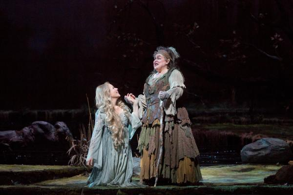 "Renée Fleming in the title role and Dolora Zajick as Ježibaba in Dvorák's ""Rusalka."""