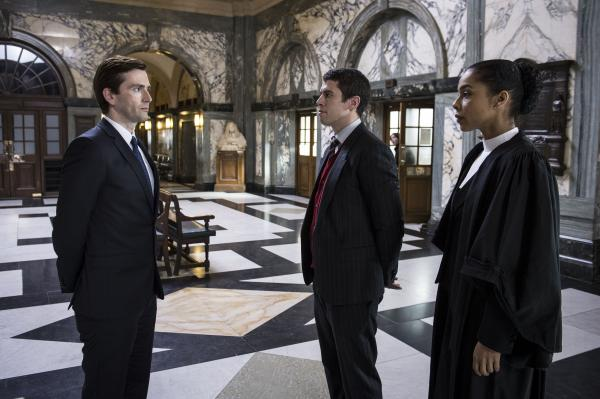 Shown from left to right: David Tennant as Will Burton, Toby Kebbell as Liam Foyle and Sophie Okonedo as Maggie Gardner