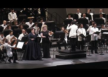 Left to right: Julianna Di Giacomo (soprano), Michelle DeYoung (mezzo-soprano), Music Director Gustavo Dudamel, Vittorio Grigolo (tenor) and Ildebrando D'Arcangelo (bass).
