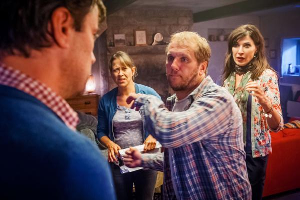 Shown from L-R: Tony Gardner as John, Nicola Walker as Gillian, Dean Andrews as Robbie, Ronnie Ancona as Judith