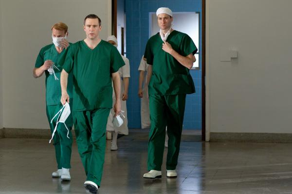Shown from left to right: Shaun Dingwall as Dr. Charlie Enderbury, Jack Davenport as Dr. Otto Powell and Oliver Chris as Dr. Richard Truscott