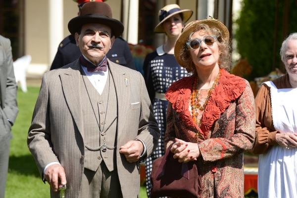 Shown from left to right: David Suchet as Poirot and Zoë Wanamaker as Ariadne Oliver
