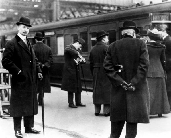 John Jacob Astor IV (far left), (1864-1912), London, 1912, was a passenger on the Titanic.