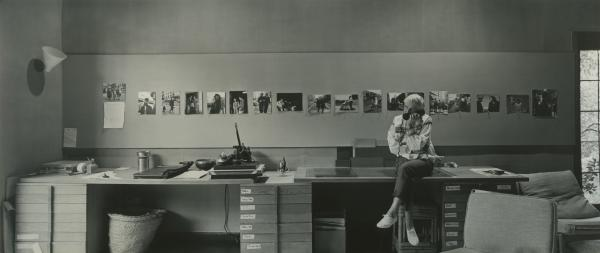 "Dorothea Lange preparing for her unprecedented, one-woman career retrospective at New York's Museum of Modern Art (MoMA) in her home studio, Berkeley, California, 1964, as seen in ""American Masters – Dorothea Lange: Grab a Hunk of Lightning."""