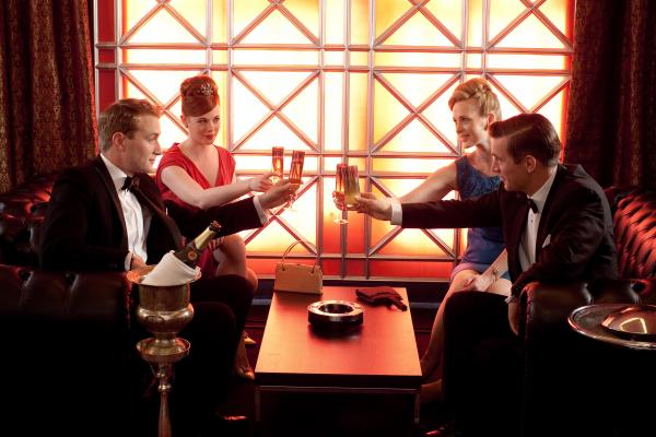 Shown from left to right: Oliver Chris as Dr. Richard Truscott, Zoe Boyle as Jean Meecher, Natasha Little as Elizabeth Powell and Jack Davenport as Dr. Otto Powell