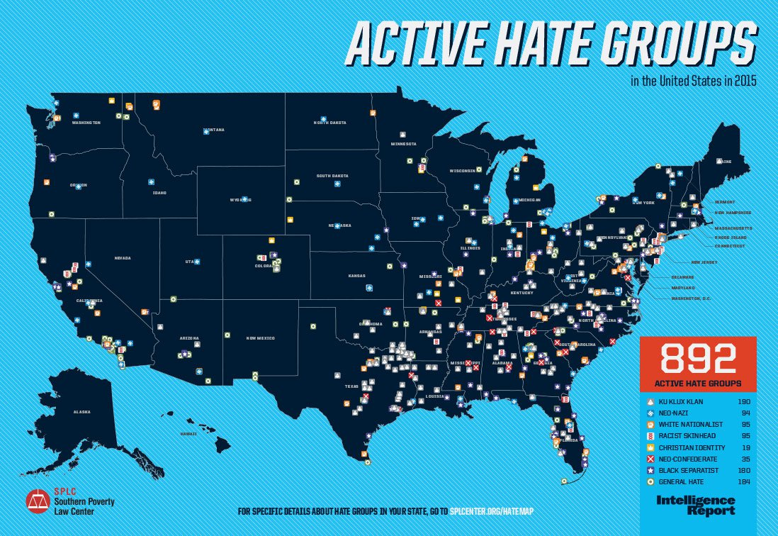 There Are Active Hate Groups In Texas The Most Of Any State - Us map of deep poverty