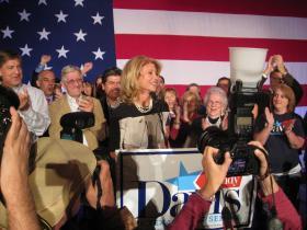 A victorious Sen. Wendy Davis