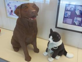Replicas of the presidential pets Buddy and Socks are on display at  the Clinton Museum.