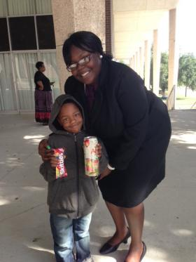 Anita and her 5 year-old son Tyrone who was the youngest participant in the Trayvon Martin reenactment.