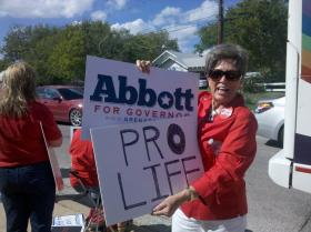 Pam Ayers of Burleson was among pro-life activists protesting outside the auditorium where Wendy Davis announced for governor.