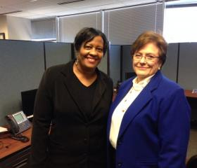 Jacqueline West and Martha Blaine in the call center.