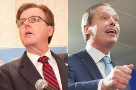 From left: Dan Patrick and David Dewhurst will face off in the May 27 Republican runoff for Texas lieutenant governor.