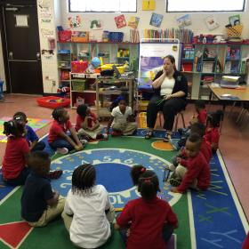 DISD Pre-K Teacher Sara Tinsley prepares  four-year olds for kindergarten in her classroom at Dallas' Good Street Learning Center.
