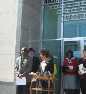DISD trustee Carla Ranger appeared at a rally against home-rule in front of the Dallas school administration building.