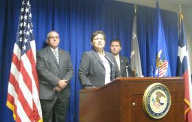Federal authorities outlining the 13-count indictment against Commissioner Price and three co-defendants. l-r Kelly Carpenter, Asst Special Agent, IRS, Sarah Saldana, US Attorney, Diego Rodriguez, Special Agent In Charge, FBI