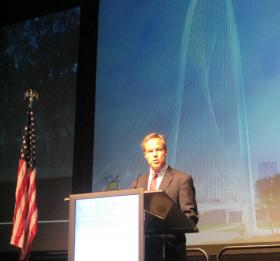 Texas Speaker of the House Joe Straus welcoming members of ALEC at the group's 41st annual meeting in Dallas.