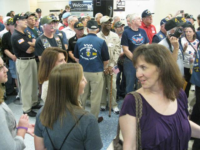 Charleen Sprabury with family awaiting the return of her deployed husband