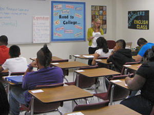 Classroom of Wilmer-Hitchins High School students, first day of school