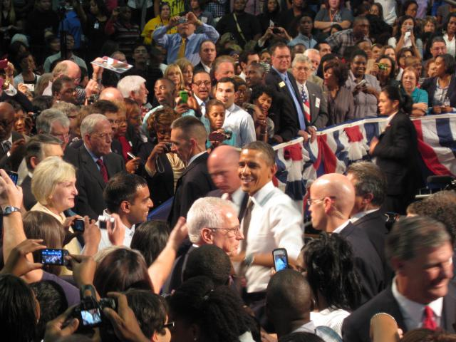 President Obama wades into a crowd at Eastfield College in Mesquite.