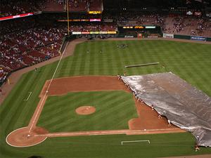 Tarp crew at Busch Stadium.