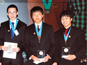 Andrew Xu of San Francisco, Kevin Chang of Plano and Kevin Tian of Austin, won the $6,000 team scholarship at the Siemens Foundation?s regional competition in math, science and technology last weekend in Austin. (Photo courtesy of the Siemens Foundation)