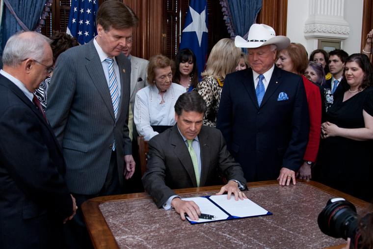 Governor Rick Perry signs HB 15 sonogram legislation into law at the Capitol on Tuesday, May 24th, 2011.