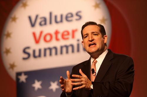 Former solicitor general Ted Cruz speaking at the Values Voter Summit in Washington, DC.