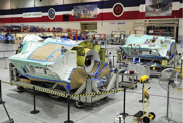 F35 fuselage being constructed at Northrup Grumman's Fort Worth facility.