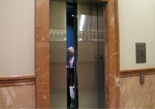 Elevator door closes on FWISD as they head up to a closed session to discuss final Superintendent candidates.